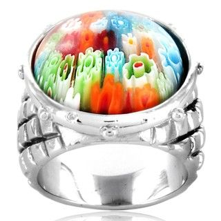 Stainless Steel Multi colored Glass Ring