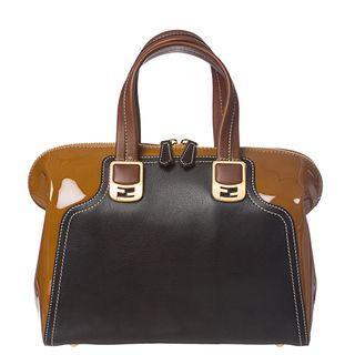 Fendi Chameleon Tan/ Black Color block Leather Satchel