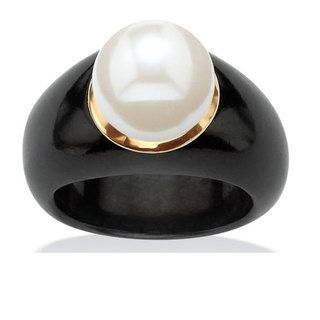 Angelina DAndrea 10k Yellow Gold Black Jade and White Freshwater