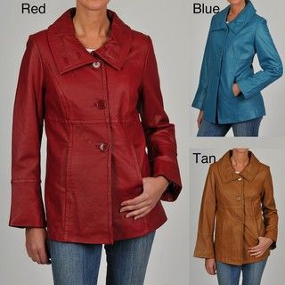 Excelled Womens Leather Shawl Collar Jacket