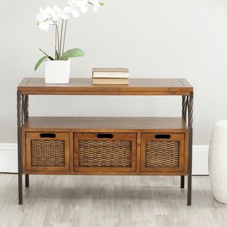 Darwen Antique Pewter Dark Walnut Finish Console Table