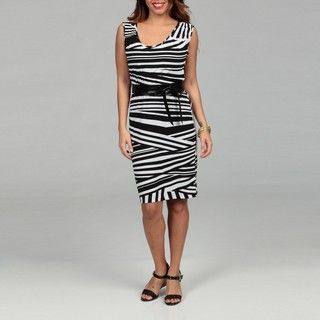 Just Taylor Womens Black and White Dress