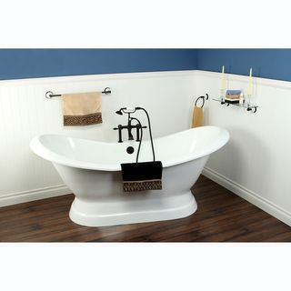 Double Slipper Cast Iron 72 inch Pedestal Bathtub with 7 inch