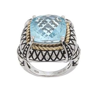 Oro Leoni Sterling Silver Blue Topaz Ring (Size 7)