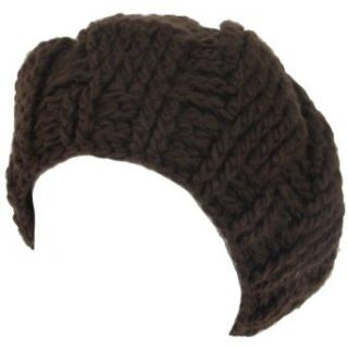 New Crochet Beret Tam Chunky Loop Knit Slouch Hat Brown