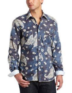 Arnold Zimberg Mens Paisley Batik Print Shirt, Blue/Grey