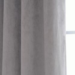 Signature Grommet Grey Velvet 108 Inch Curtain Panel