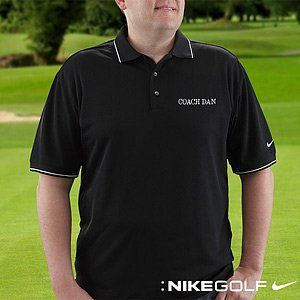 Personalized Polo Golf Shirts   Nike Dri FIT   Black