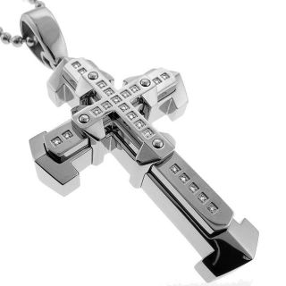 Stainless Steel Mens 1/10ct TDW Diamond Cross Necklace (I J, I2 I3