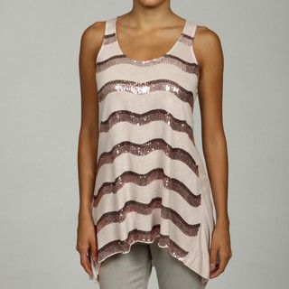 RXB Womens High Low StripedSequin Tank