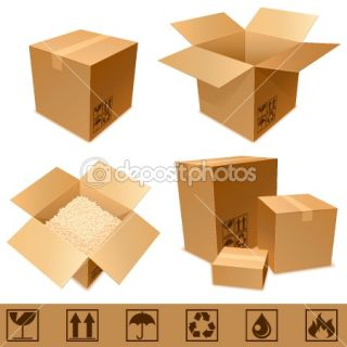 Cardboard boxes.  Stock Vector © timurock #4554476