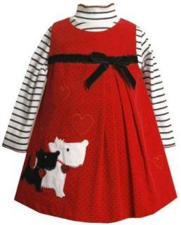 Bonnie Jean Girls 2 6x Scotty Applique Coat, Red, 2T