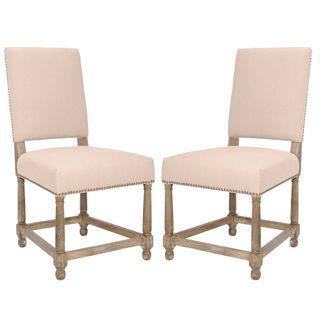 Bexley Beige Linen Nailhead Side Chairs (Set of 2)