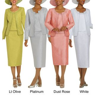 Divine Apparel Hammered Satin Womens Skirt Suit