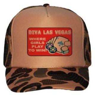 Diva Las Vegas Adult Brown Camo Mesh Back Hat / Baseball