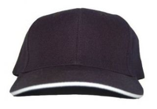New Plain Blank Sandwich Fitted Curved Hat Cap   Black