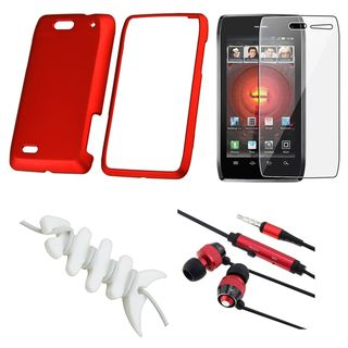 BasAcc Red Case/ Protector/ Headset/ Wrap for Motorola Droid 4 XT894