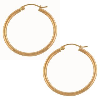 14k Rose Gold Polished Tube Hoop Earrings