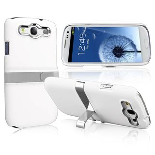 BasAcc White/ Silver Case with Stand for Samsung Galaxy SIII/ S3 i9300