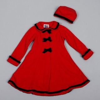 Good Lad Girls Red Fleece Ribbon Detail Dress Coat