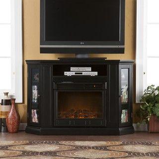 Belvedere Black Media Console Fireplace