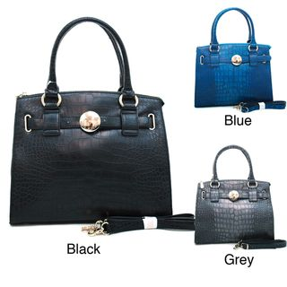 Anais Gvani Croc embossed Belted Tote Bag