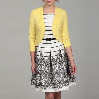 Jessica Howard Womens Yellow Bolero Sweater