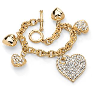 Palm Beach Jewelry Gold tone Crystal Multi heart Charm Bracelet