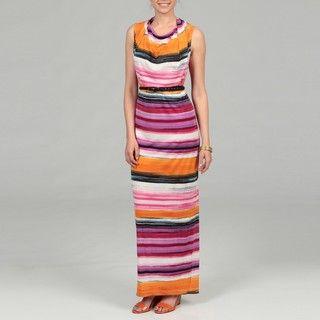 Calvin Klein Mango Multi Striped Drape Neck Dress