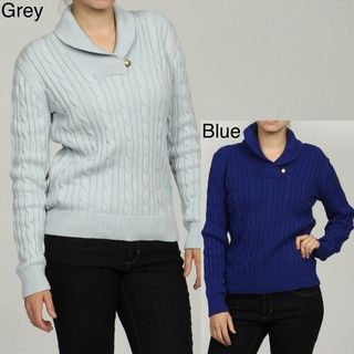 Link Womens Long Sleeve Shawl Collar Cable Sweater