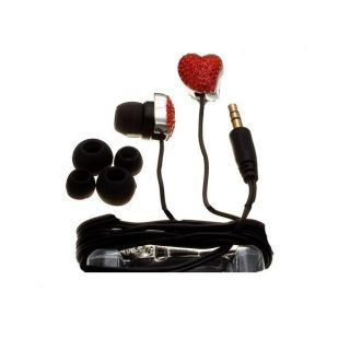 Nemo Digital Red/ Black Crystal Pave Twisted Heart Earbud Headphones