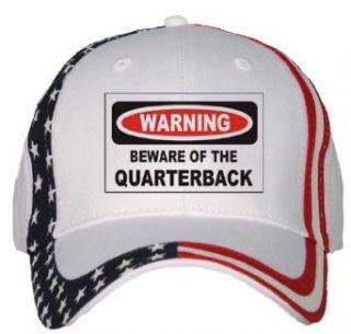 BEWARE OF THE QUARTERBACK USA Flag Hat / Baseball Cap
