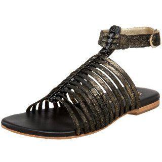 Womens Jonah Ankle Strap Sandal,Gold on Black Crackle,10 M US Shoes
