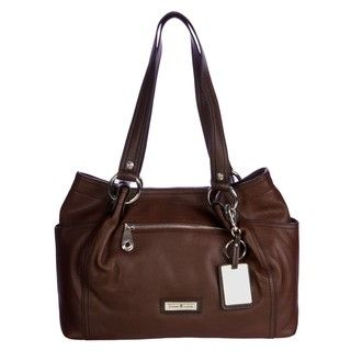 Etienne Aigner Womens Tobacco Brown Satchel Handbag