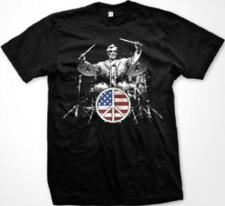 Rock and Roll 101 Mens T shirt, Lincoln Playing Drum Set