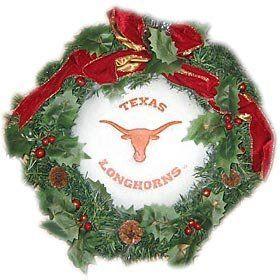 Texas Longhorns 22 Holiday Christmas Wreath   NCAA