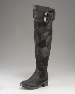 Gema Distressed Suede Over the Knee Motorcycle Boot (Black 7) Shoes