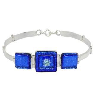 Sterling Silver Shimmering Blue Dichroic Bracelet (Chile)