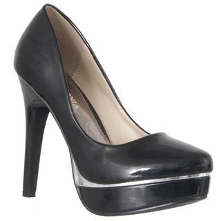 Riverberry Womens Black Patent Finish Platform Stilettos