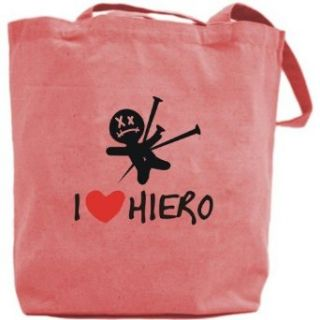 Canvas Tote Bag Pink  I Love Hiero  Name Clothing