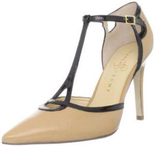 Womens Ginger T Strap Pump,Camel/Black,8.5 M US Ivanka Trump Shoes