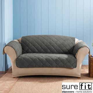 Sure Fit Graphite Reversable Quilted / Sherpa Sofa Cover