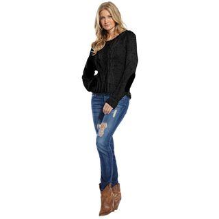 Elan Womens Black Chain Link Knit Sweater