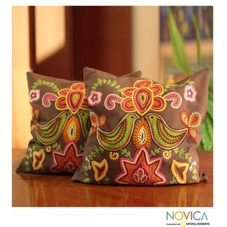 Set of 2 Cotton Choral Cushion Covers (India)