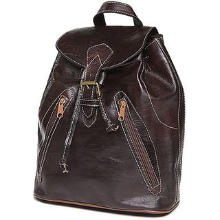 Espresso Brown Leather Backpack (Morocco)