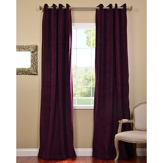 Eggplant Grommet Velvet Blackout Curtain Panel