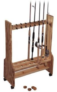 Rush Creek Log Cabin Style 16 Rod Bi level Rolling Rack