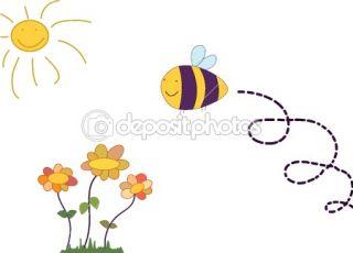 Cartoon bee flying over flowers  Stock Vector © Bibika_31 #6159928