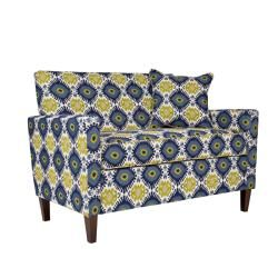 angeloHOME Sutton Retro Blue Green Geometric Burst Loveseat