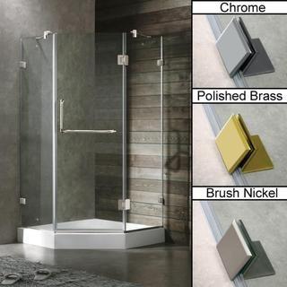 Vigo 38 x 38 Frameless Neo angle Clear Shower Enclosure and White Base